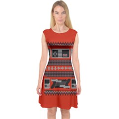 Old School Ugly Holiday Christmas Red Background Capsleeve Midi Dress