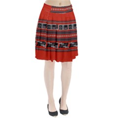 Old School Ugly Holiday Christmas Red Background Pleated Skirt