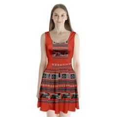 Old School Ugly Holiday Christmas Red Background Split Back Mini Dress