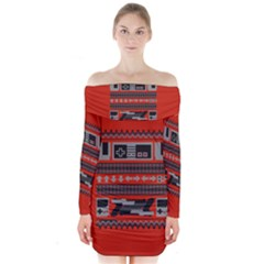 Old School Ugly Holiday Christmas Red Background Long Sleeve Off Shoulder Dress