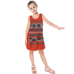 Old School Ugly Holiday Christmas Red Background Kids  Sleeveless Dress
