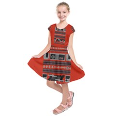 Old School Ugly Holiday Christmas Red Background Kids  Short Sleeve Dress