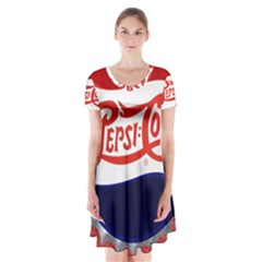 Pepsi Cola Short Sleeve V Neck Flare Dress