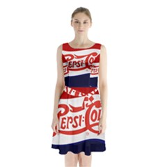 Pepsi Cola Sleeveless Chiffon Waist Tie Dress