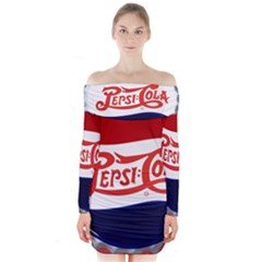 Pepsi Cola Long Sleeve Off Shoulder Dress