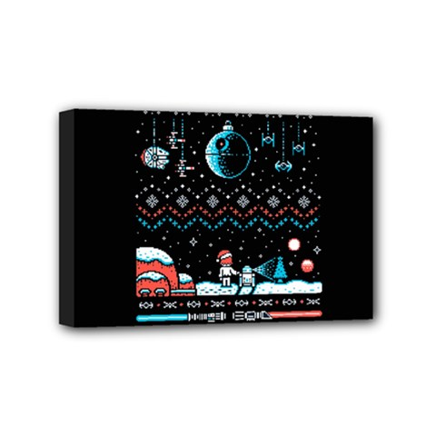 That Snow Moon Star Wars  Ugly Holiday Christmas Black Background Mini Canvas 6  X 4