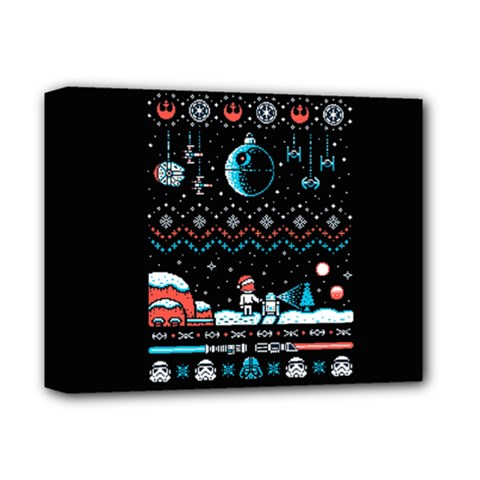 That Snow Moon Star Wars  Ugly Holiday Christmas Black Background Deluxe Canvas 14  x 11