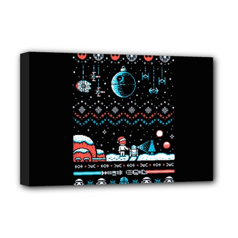 That Snow Moon Star Wars  Ugly Holiday Christmas Black Background Deluxe Canvas 18  x 12