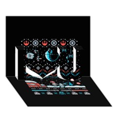 That Snow Moon Star Wars  Ugly Holiday Christmas Black Background I Love You 3D Greeting Card (7x5)