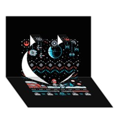 That Snow Moon Star Wars  Ugly Holiday Christmas Black Background Heart 3d Greeting Card (7x5)