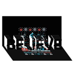 That Snow Moon Star Wars  Ugly Holiday Christmas Black Background Believe 3d Greeting Card (8x4)