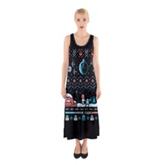 That Snow Moon Star Wars  Ugly Holiday Christmas Black Background Sleeveless Maxi Dress