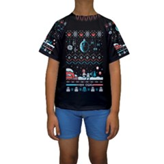 That Snow Moon Star Wars  Ugly Holiday Christmas Black Background Kids  Short Sleeve Swimwear