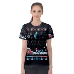 That Snow Moon Star Wars  Ugly Holiday Christmas Black Background Women s Sport Mesh Tee