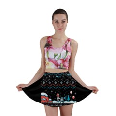 That Snow Moon Star Wars  Ugly Holiday Christmas Black Background Mini Skirt