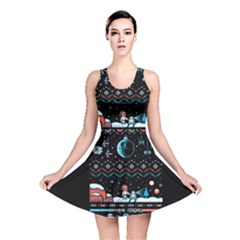 That Snow Moon Star Wars  Ugly Holiday Christmas Black Background Reversible Skater Dress