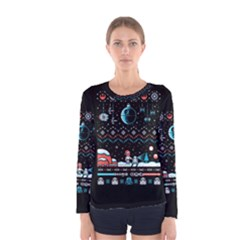 That Snow Moon Star Wars  Ugly Holiday Christmas Black Background Women s Long Sleeve Tee
