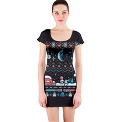 That Snow Moon Star Wars  Ugly Holiday Christmas Black Background Short Sleeve Bodycon Dress