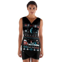 That Snow Moon Star Wars  Ugly Holiday Christmas Black Background Wrap Front Bodycon Dress