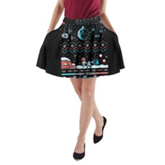 That Snow Moon Star Wars  Ugly Holiday Christmas Black Background A-Line Pocket Skirt