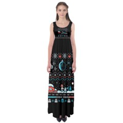That Snow Moon Star Wars  Ugly Holiday Christmas Black Background Empire Waist Maxi Dress
