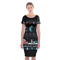 That Snow Moon Star Wars  Ugly Holiday Christmas Black Background Classic Short Sleeve Midi Dress