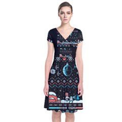 That Snow Moon Star Wars  Ugly Holiday Christmas Black Background Short Sleeve Front Wrap Dress