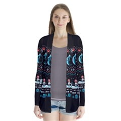 That Snow Moon Star Wars  Ugly Holiday Christmas Black Background Drape Collar Cardigan
