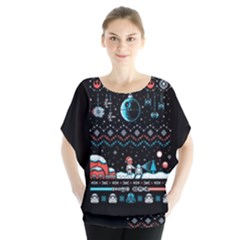 That Snow Moon Star Wars  Ugly Holiday Christmas Black Background Blouse