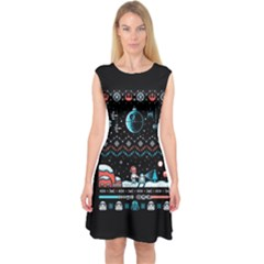 That Snow Moon Star Wars  Ugly Holiday Christmas Black Background Capsleeve Midi Dress