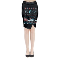 That Snow Moon Star Wars  Ugly Holiday Christmas Black Background Midi Wrap Pencil Skirt