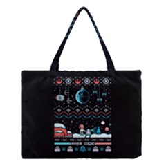 That Snow Moon Star Wars  Ugly Holiday Christmas Black Background Medium Tote Bag