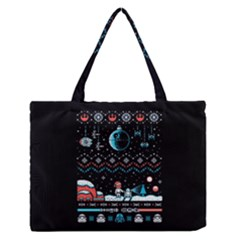 That Snow Moon Star Wars  Ugly Holiday Christmas Black Background Medium Zipper Tote Bag