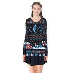 That Snow Moon Star Wars  Ugly Holiday Christmas Black Background Flare Dress