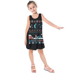 That Snow Moon Star Wars  Ugly Holiday Christmas Black Background Kids  Sleeveless Dress