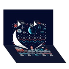 That Snow Moon Star Wars  Ugly Holiday Christmas Blue Background Heart 3D Greeting Card (7x5)