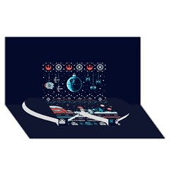 That Snow Moon Star Wars  Ugly Holiday Christmas Blue Background Twin Heart Bottom 3D Greeting Card (8x4)