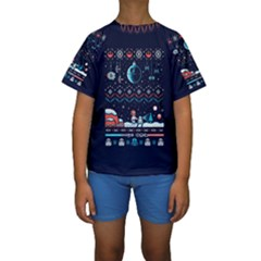 That Snow Moon Star Wars  Ugly Holiday Christmas Blue Background Kids  Short Sleeve Swimwear