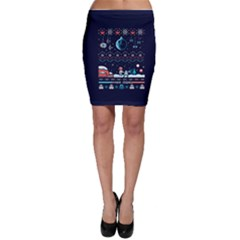 That Snow Moon Star Wars  Ugly Holiday Christmas Blue Background Bodycon Skirt