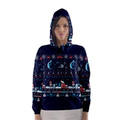 That Snow Moon Star Wars  Ugly Holiday Christmas Blue Background Hooded Wind Breaker (women)