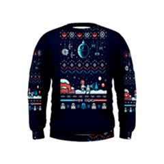 That Snow Moon Star Wars  Ugly Holiday Christmas Blue Background Kids  Sweatshirt