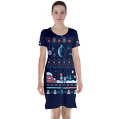That Snow Moon Star Wars  Ugly Holiday Christmas Blue Background Short Sleeve Nightdress