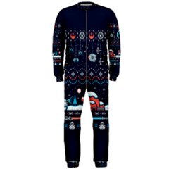 That Snow Moon Star Wars  Ugly Holiday Christmas Blue Background Onepiece Jumpsuit (men)