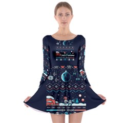 That Snow Moon Star Wars  Ugly Holiday Christmas Blue Background Long Sleeve Skater Dress
