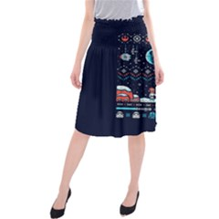 That Snow Moon Star Wars  Ugly Holiday Christmas Blue Background Midi Beach Skirt