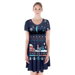That Snow Moon Star Wars  Ugly Holiday Christmas Blue Background Short Sleeve V-neck Flare Dress