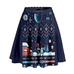 That Snow Moon Star Wars  Ugly Holiday Christmas Blue Background High Waist Skirt