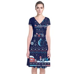 That Snow Moon Star Wars  Ugly Holiday Christmas Blue Background Short Sleeve Front Wrap Dress