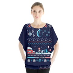 That Snow Moon Star Wars  Ugly Holiday Christmas Blue Background Blouse
