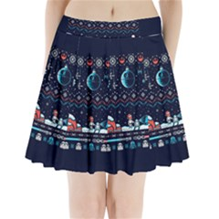 That Snow Moon Star Wars  Ugly Holiday Christmas Blue Background Pleated Mini Skirt
